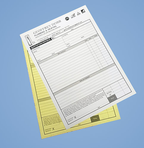 A4 2 Part NCR Sets - Single Sided Black Print Only from