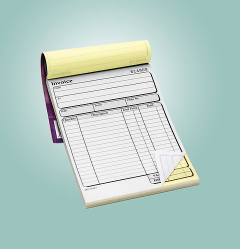 A5 2 Part NCR Pads - Single Sided Black Print Only from