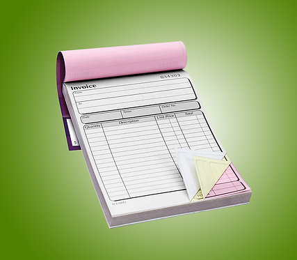 A5 3 Part NCR Pads - Single Sided Black Print Only from