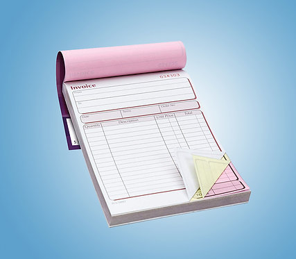 A5 3 Part NCR Pads - Single Sided Colour Print Only from