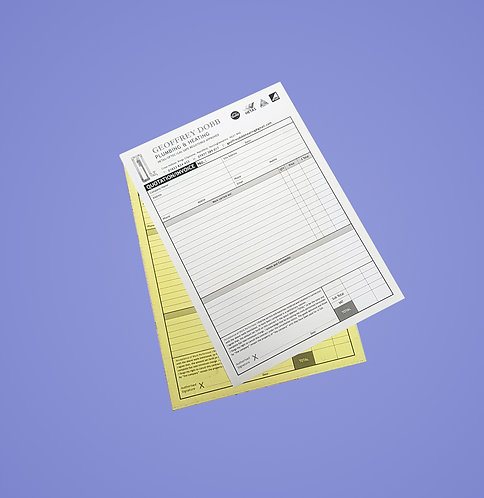 A5 2 Part NCR Sets - Single Sided Black Print Only from