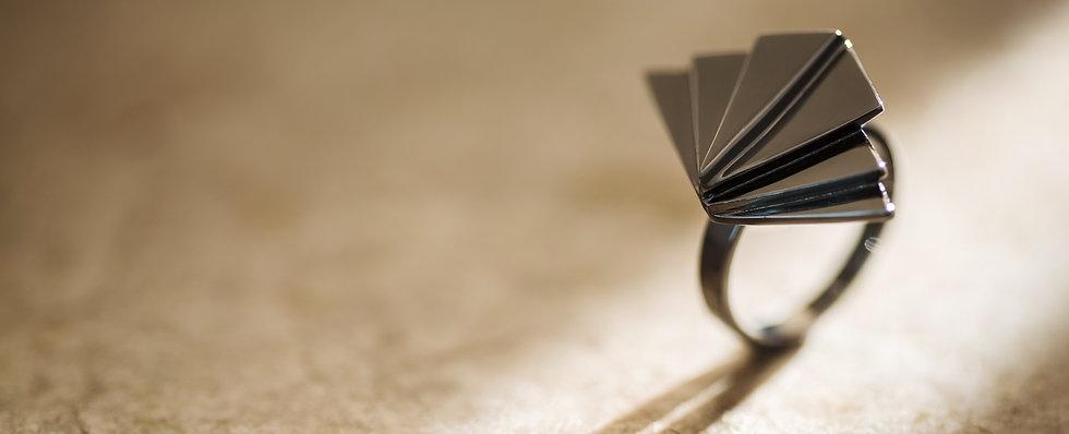 Pravi Design Joias anel rodio negro geometrico