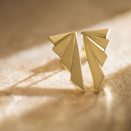 brinco geometrico ouro amarelo
