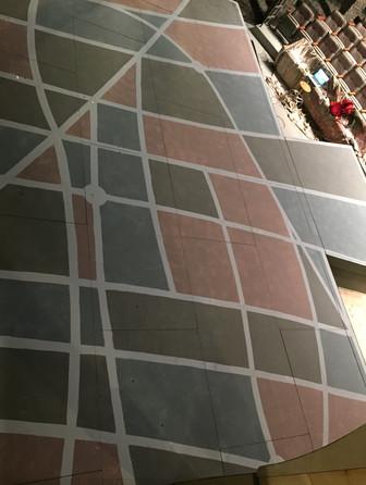 Painting, floor before sealing spray