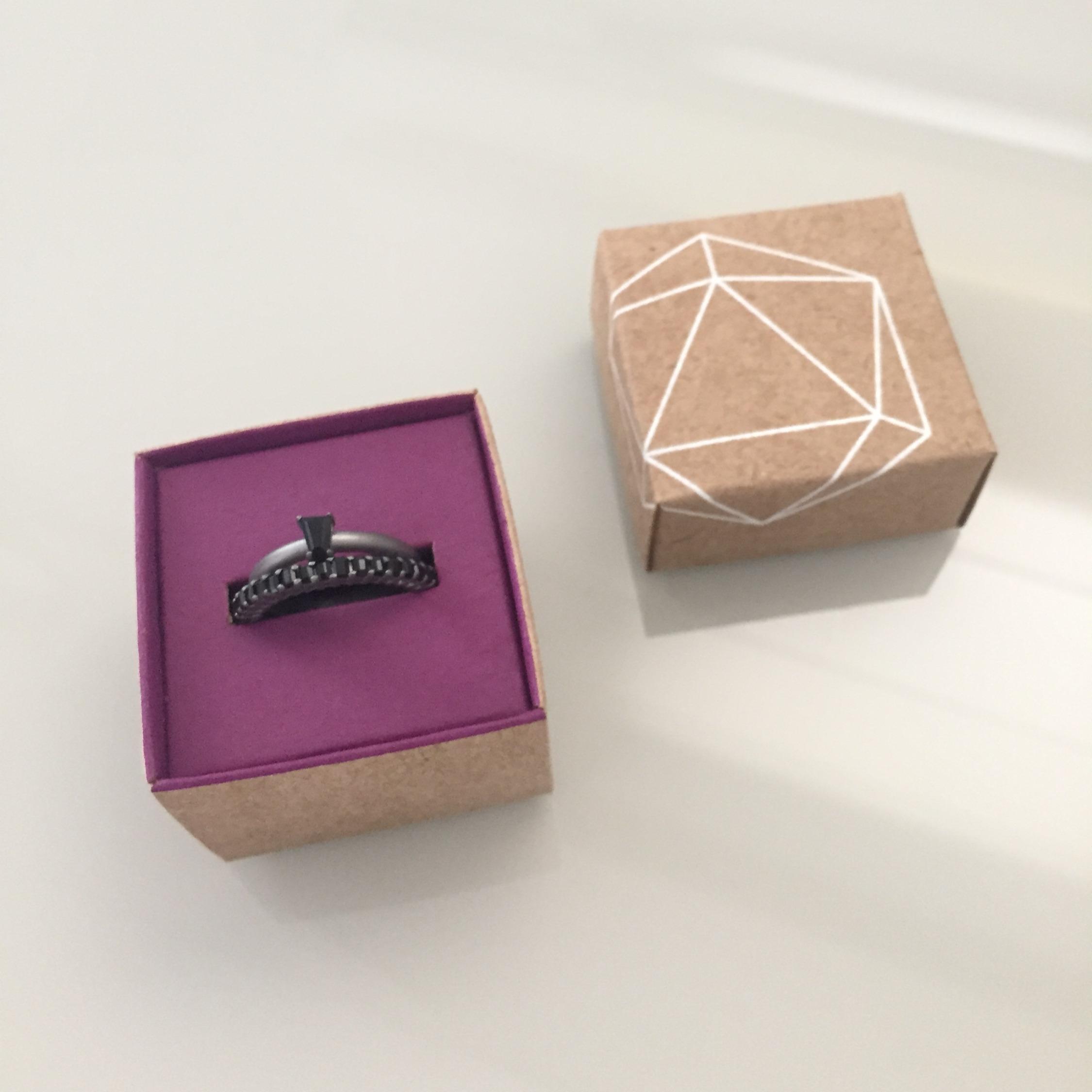 anel aparador de alianca prata onix sob