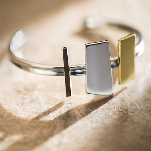 pulseira bracelete prata rodio negro ouro
