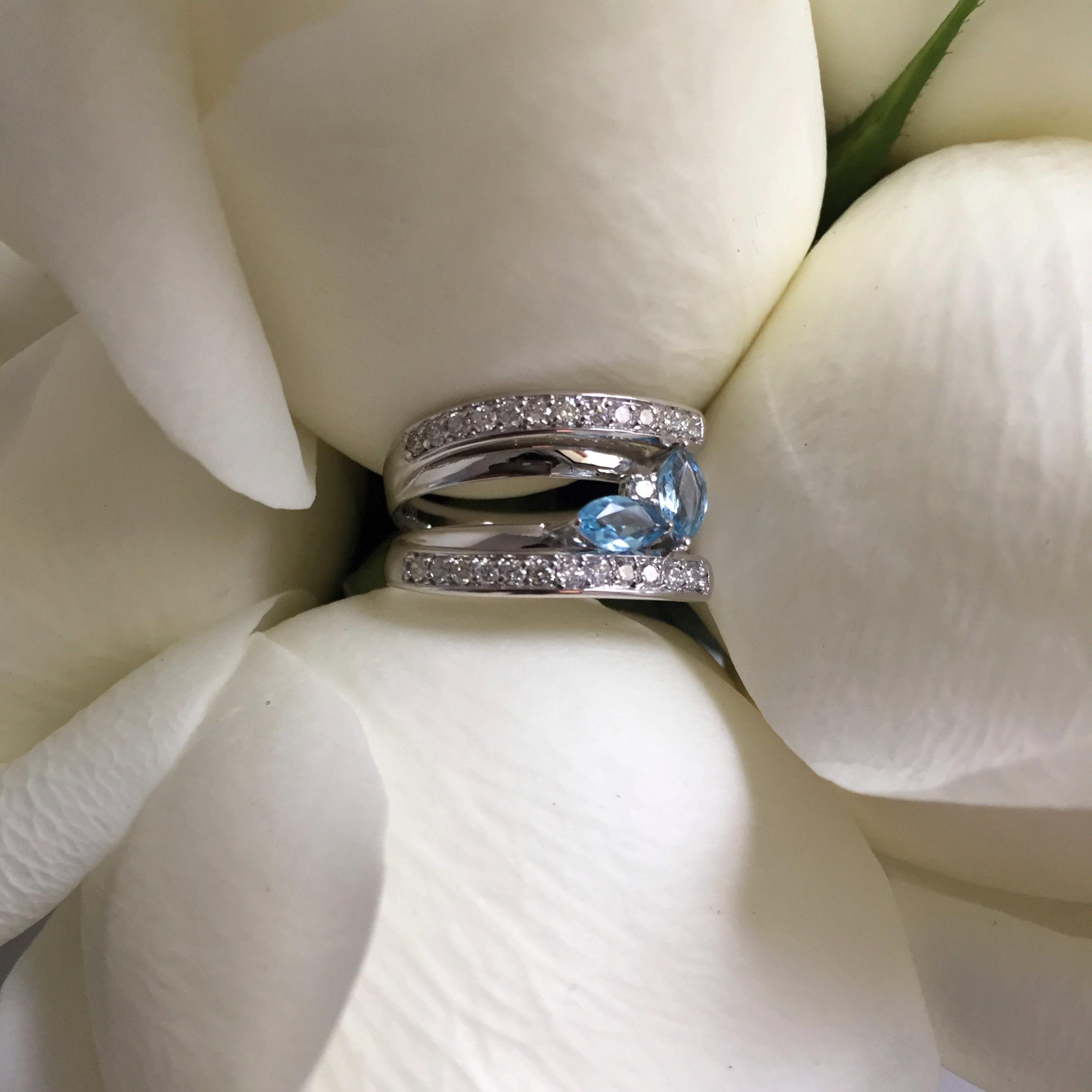 alianca bodas prata ouro branco topazio