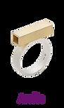 anel geométrico prata e ouro amarelo