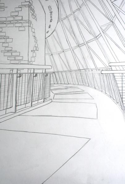Hand drawing of Trexler Pavillion at Muhlenberg College