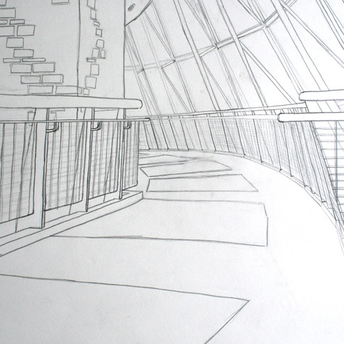 Hand drawing of Trexler Pavillion at Muhlenberg College