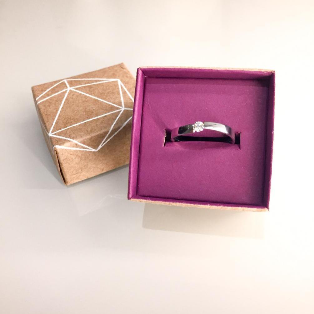 anel de noivado ouro branco diamante bri
