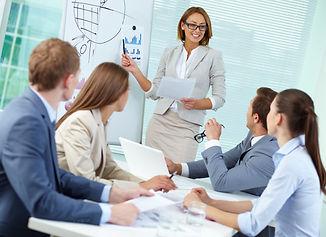 Confident businesswoman explaining somet