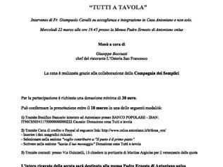 """Cena di Raccolta Fondi a favore di Antoniano onlus - """"Tutti a tavola"""""""