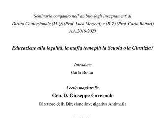 """Prof. Carlo Bottari: Seminario su """"Educazione alla legalità: la mafia teme più la scuola o la g"""