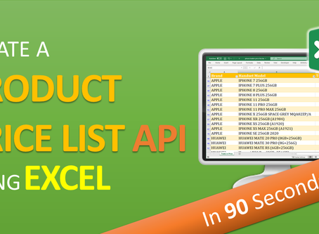 Create a Product Price List API using Excel in 90 seconds