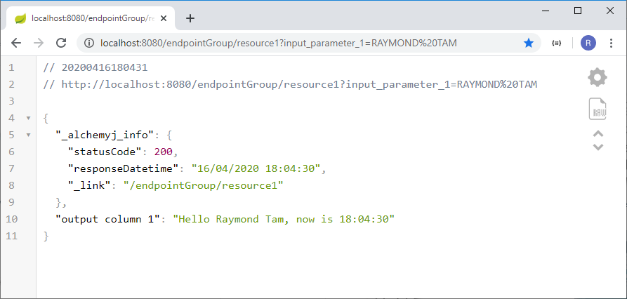 Your API response in browser