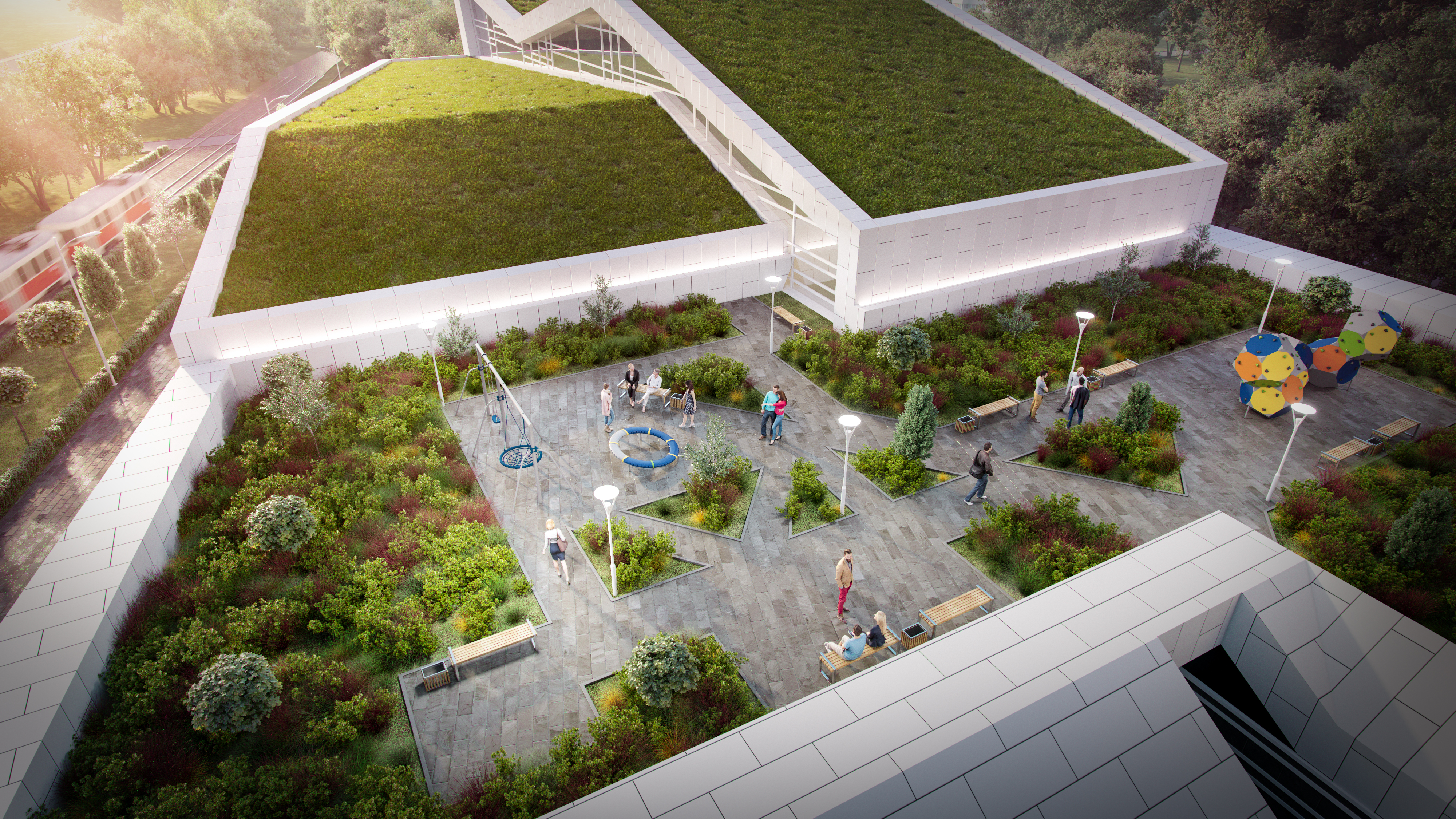 Вид на озелененную террасу