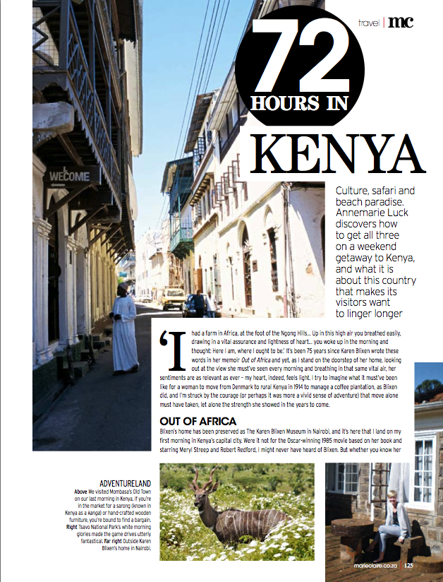 Marie Claire: Kenya Travel Story