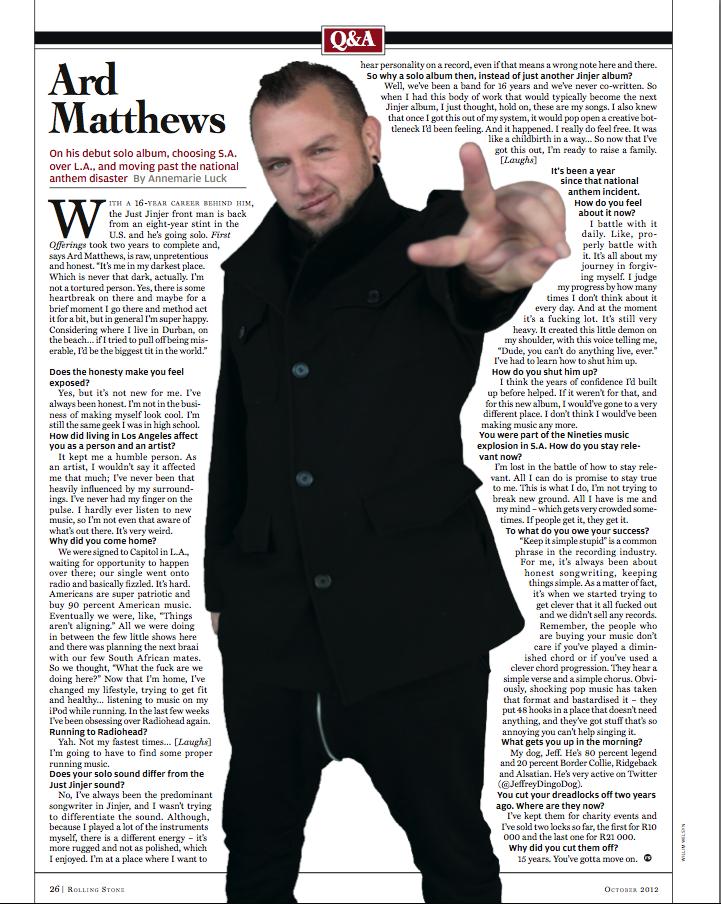 Rolling Stone: Ard Matthews Q&A