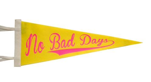 """""""No Bad Days"""" Banana/Neon Pink Pennant"""