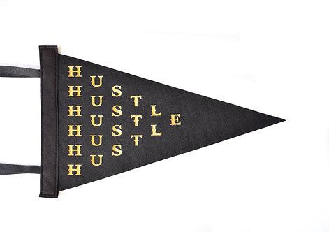 """""""Hustle"""" Black/Gold Foil Mini Pennant"""