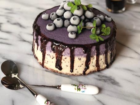 No-Bake Stracciatella Blueberry Cheesecake