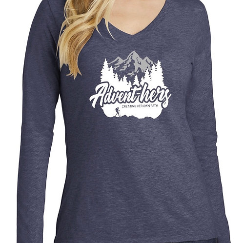 Heathered Navy Long Sleeve Advent-hers Shirt
