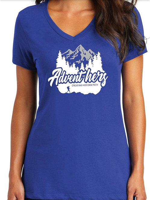 Deep Royal V Neck Advent-hers T-Shirt