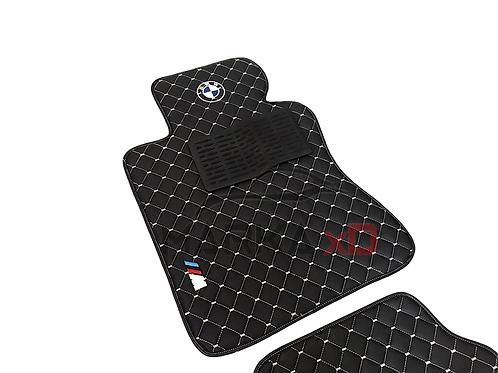 Her araca özel siyah zemin beyaz dikişli renk 3D logolu paspas