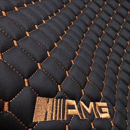 Her araca özel Siyah zemin Taba dikişli 3D logolu paspas