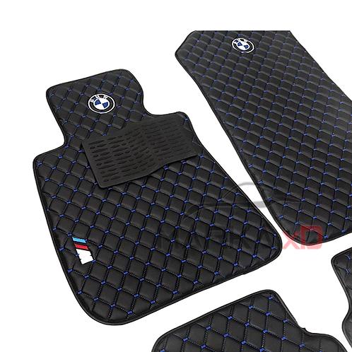 Her araca özel Siyah zemin Mavi dikişli 3D logolu paspas