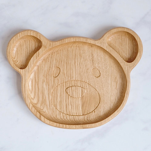 bear wooden compartment plate for babies