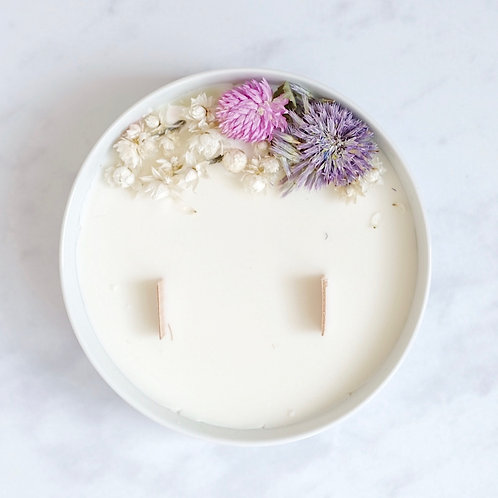 jasmine aromatherapy soy wax candle and flowers, organic cocoon