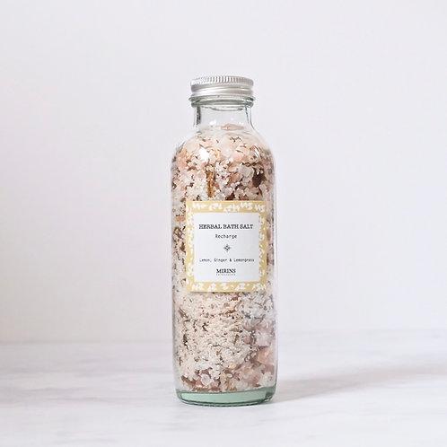 Herbal Bath Salt - RECHARGE - lemon, ginger & lemongrass