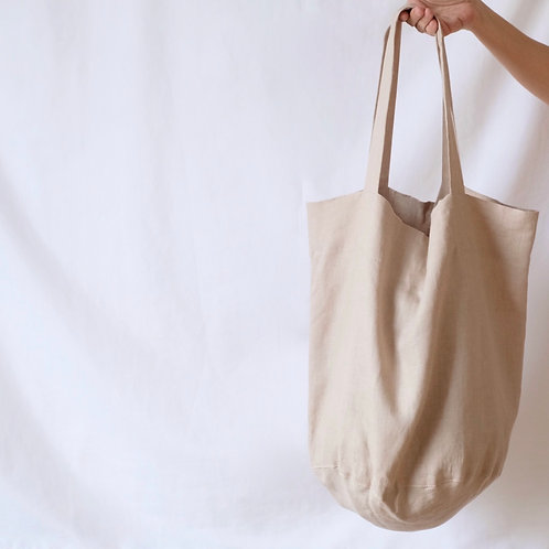 large linen tote bag - sand