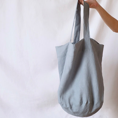 Large Linen Tote Bag - Greyish Blue
