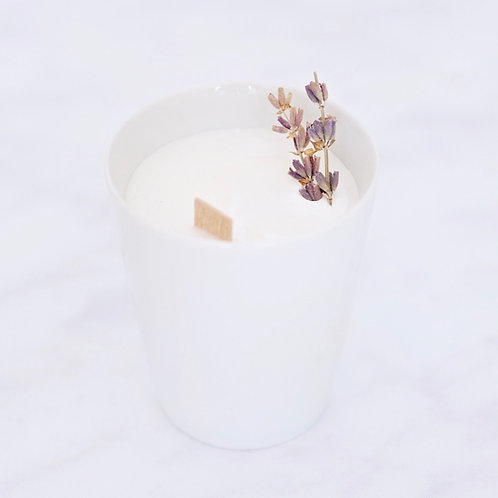lavender aromatherapy soy candle, organic cocoon uk