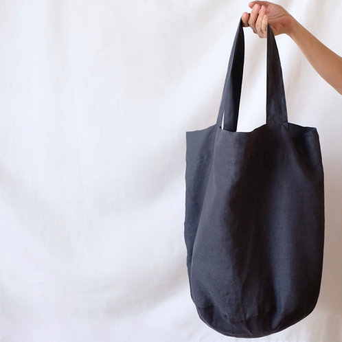 large linen tote bag - charcoal