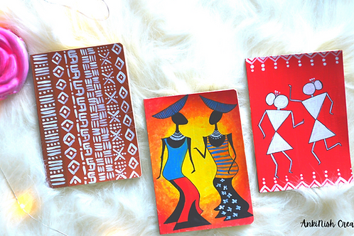 Handpainted Tribal art Notebooks - Set of 3