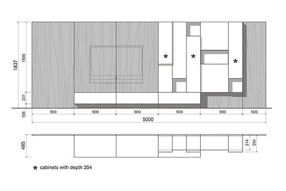 Poliform мебель для TV Sintesi схема
