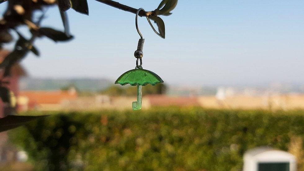 Orecchino Ombrello resina verde in 3D