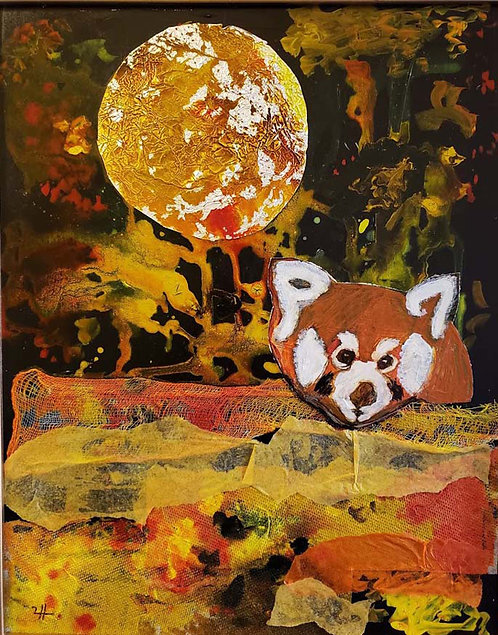 Red Panda under the Moon