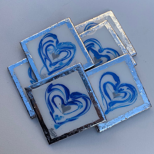 Blue and Silver Coasters