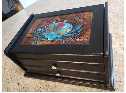 Blue Crab Steampunk TrInket Box
