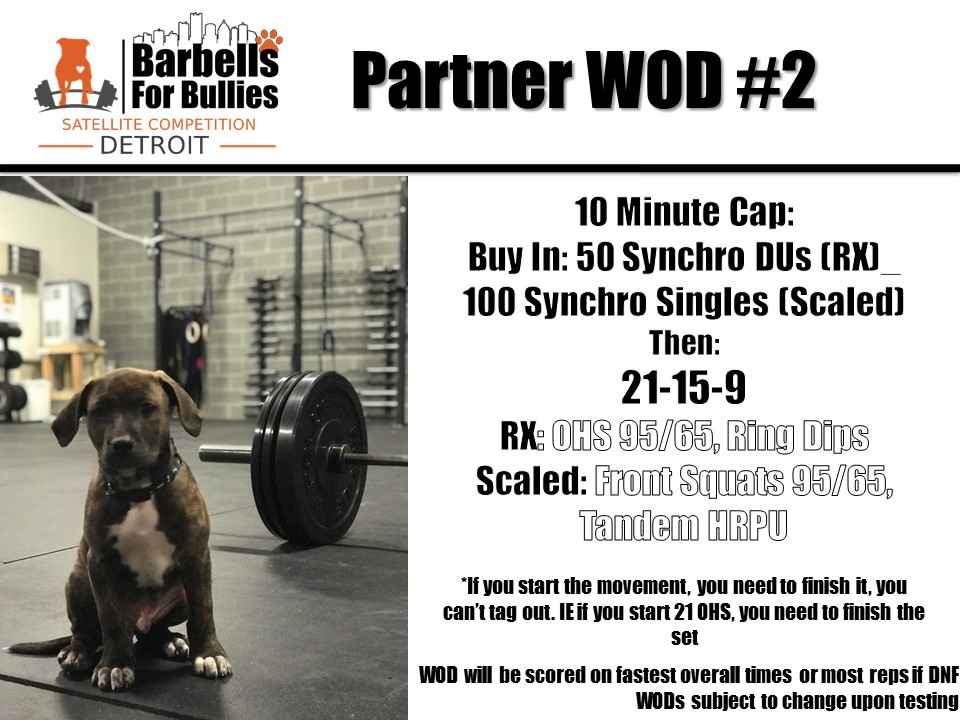 Barbells For Bullies Detroit WOD #2