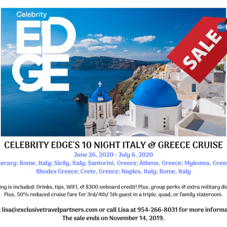 Veteran's Day Sale: 10 Day Italy & Greece Celebrity Cruise