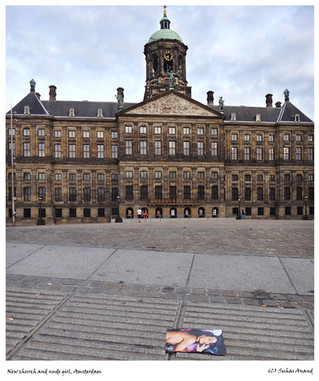 Picture of nude girl in front of Church in Dam Square