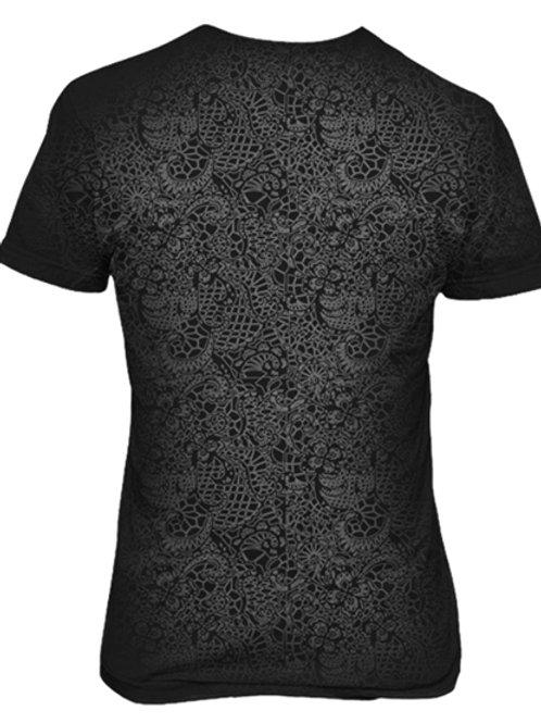 Black Grey T-Shirt Paisley- Back