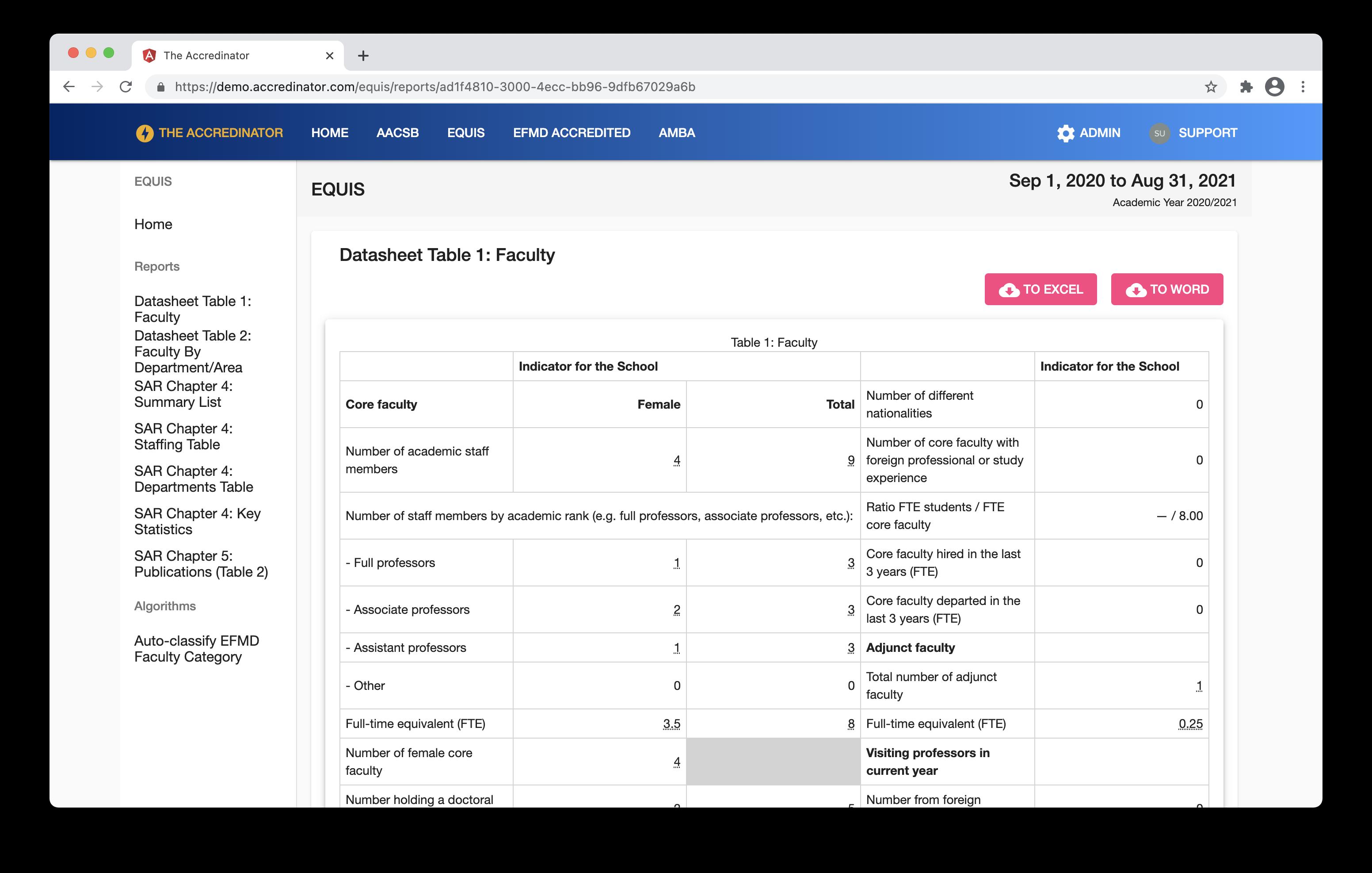 EQUIS Datasheet Example