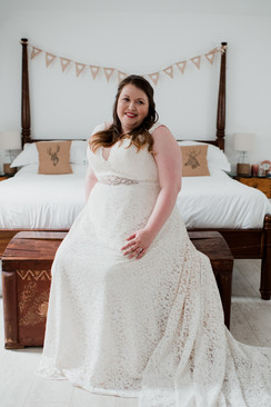 Lace Dress Bridal Gown with Belt Detail